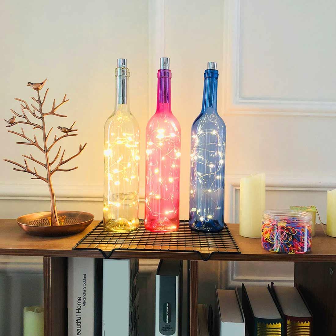 Batería LED en forma de corcho 1m/1,5 m/2 m Power guirnalda de luces de hadas botella cadena luces adornos navideños para el hogar al aire libre