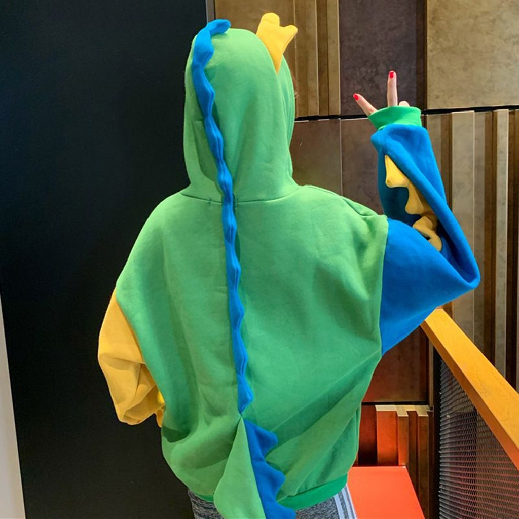 Модная женская Повседневная Свободная Толстовка с длинным рукавом и принтом динозавра, толстовки с капюшоном, осенняя верхняя одежда с длинными рукавами, свитшоты размера плюс
