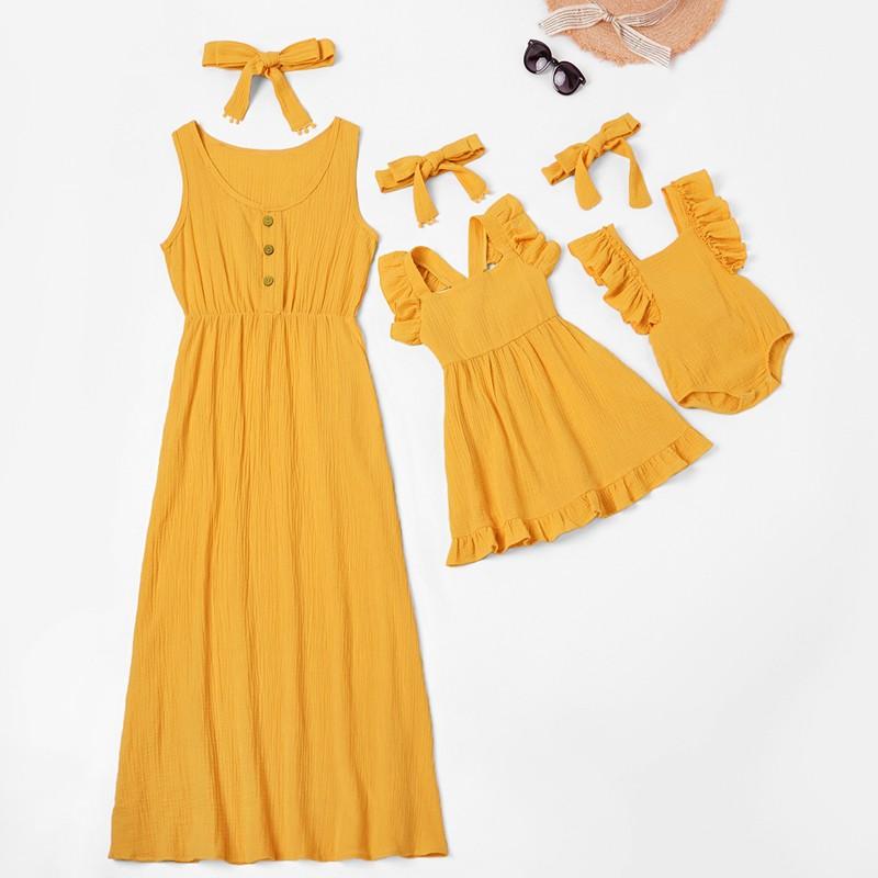 Lindo bebé Romper vestido de verano Madre y niños Casual botón vestido mamá bebé familia ropa sólida a juego trajes de algodón