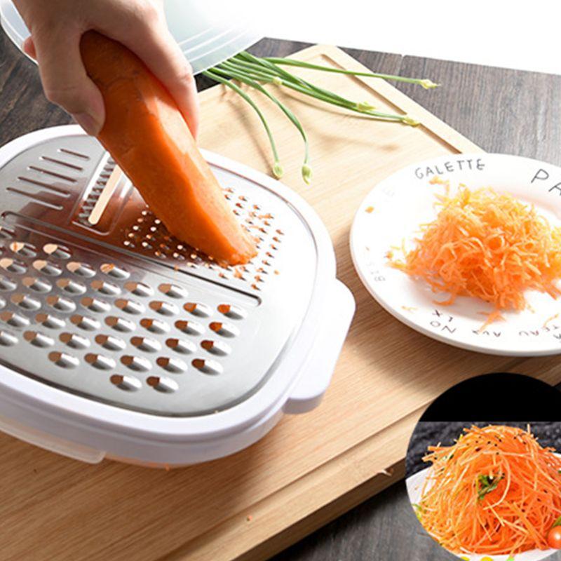 Multifunción 3 en 1 rallador manual rebanador picador vegetariano hoja de acero inoxidable con caja de almacenamiento y tapa