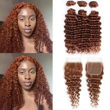 Deep Wave Human Hair Bundles With Closure 4x4 KEMY HAIR Brown Red Pre-Colored Brazilian Hair Weave Bundles With Closure Non-Remy