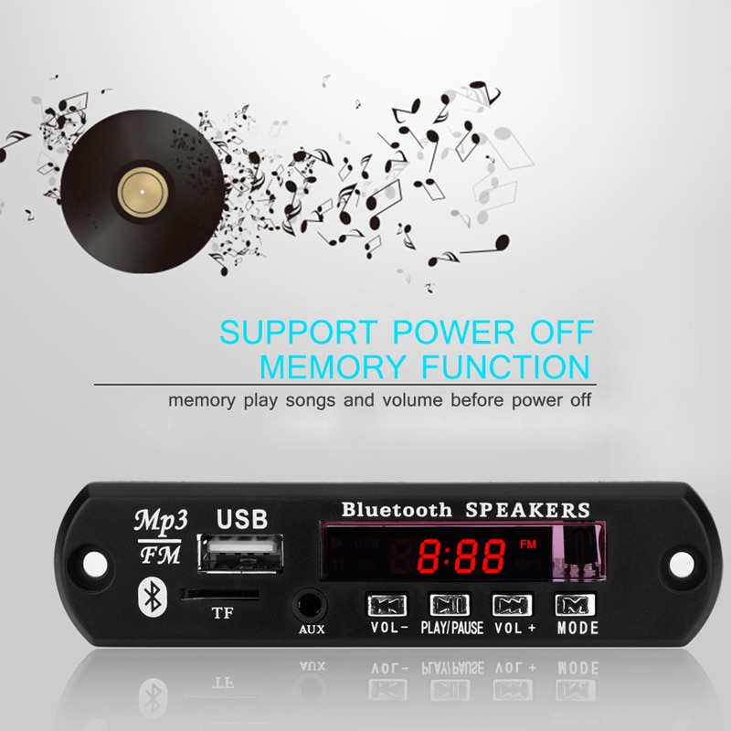 Caliente Onever Draadloze Bluetooth Fm-zender Carkit reproductor de 12 V 12 V MP3 placa decodificadora WMA Módulo de Audio USB TF Auto accesorios Radio