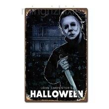 Michael Myers Halloween Horror Film Film Vintage Retro Zinn Zeichen Metall Decor Metall Zeichen Poster Metall Aufkleber Metall Malerei