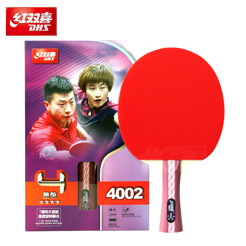 RED DOUBLE HAPPINESS Children Student Beginner 4 Star Table Tennis Rackets Horizontal Single Double Racket Ping-Pong Three