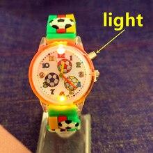 Children's Luminous Watch Cartoon Sports Car Football Strap Quartz Kid Watch for Boys Butterfly Flow