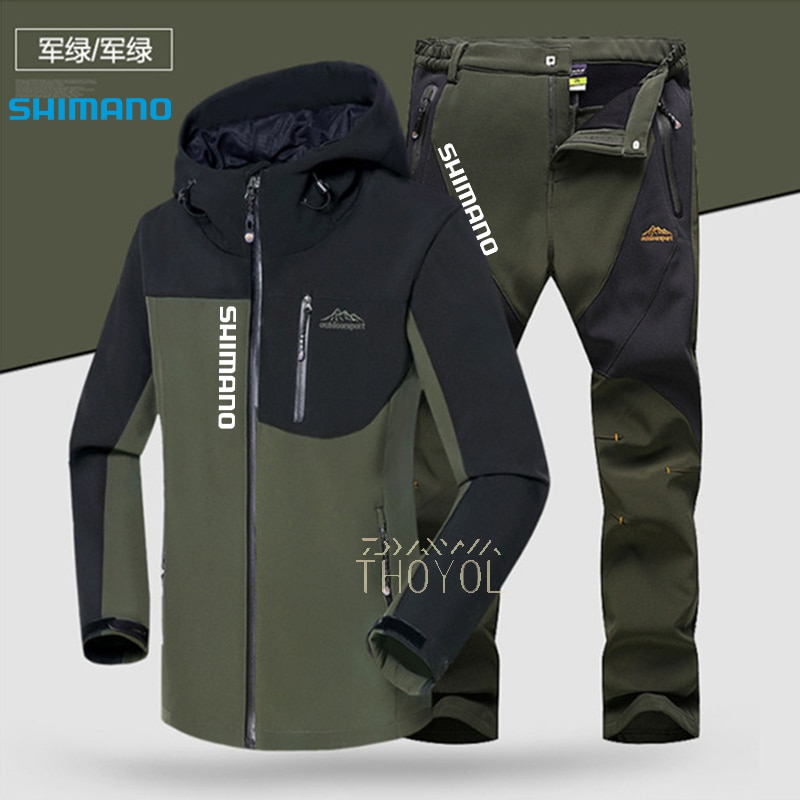 Shimano Fishing Suit Waterproof Winter Fishing Jacket Hooded Outdoor Fishing Clothes Warm Thick Hiking Fishing Pants Waterproof enlarge