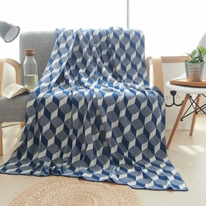 YIRUIO Home Textiles Blanket Throw Royal Blue Gray 3D Cotton Crochet Sofa Cover Blanket Warm Women Shawl Carpet For Living Room