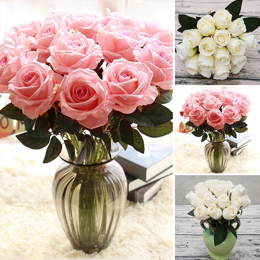 18 stücke Künstliche Rose Blumen Romantische Hochzeit Bouquets Blumen Schöne Farbe Home Party Dekoration Tisch Köpfe Rose Bouquet