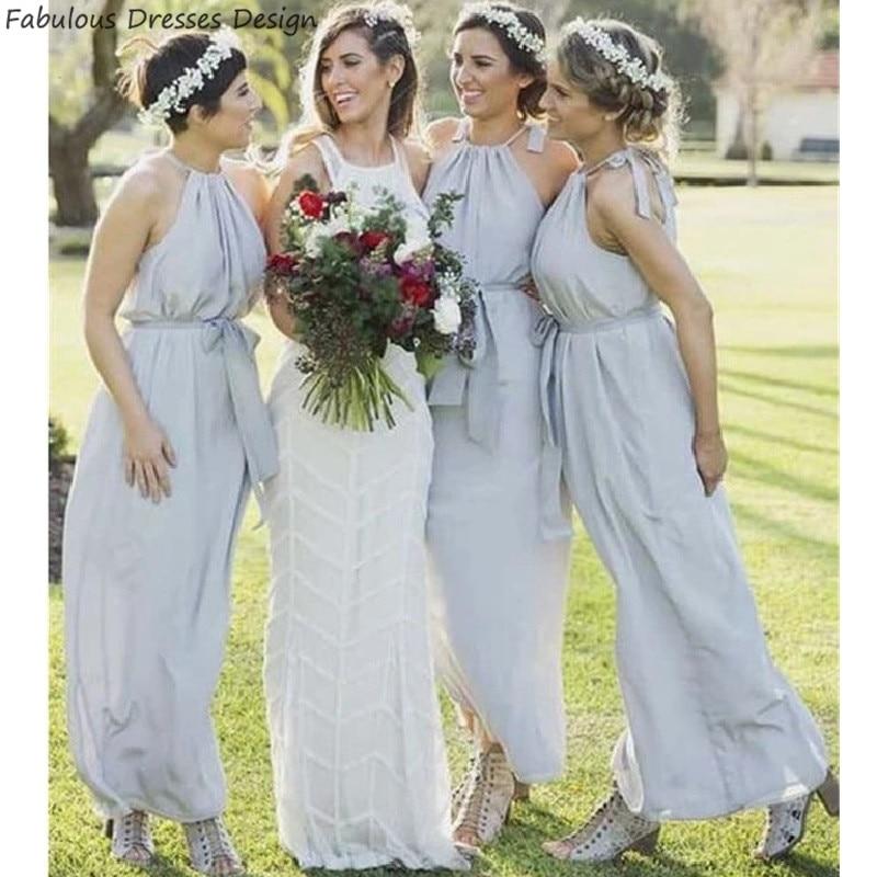 Newest Halter A Line Bridesmaid Dresses 2020 Fashion Bows Belt Chiffon Vestido De Festa Formal Long Wedding Guest Gowns недорого