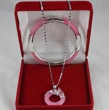 Merveilleux ensemble de Bracelet de collier de pendentifs de Dragon de cercle de Jade rose