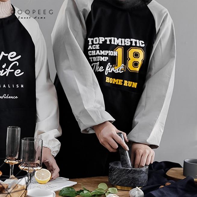 Nuevo estilo nórdico de algodón, tareas del hogar cocina para hombres y mujeres, Mono de cuerpo completo, tienda de té de la leche de hotel, delantal con mangas largo de color sólido