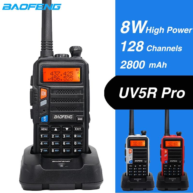 Alto 8W $TERM impacto Baofeng Walkie Talkie UV-5R Pro dos Radio de banda Dual VHF UHF portátil caza CB transmisor de Radio ham cargador USB