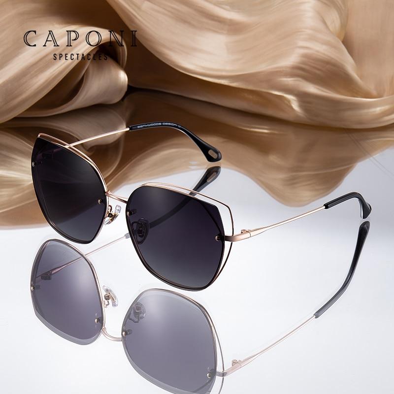 CAPONI الجوف إطار النظارات الشمسية النساء 2020 جديد المتضخم الفاخرة الشمس نظارات خمر الاستقطاب العصرية ظلال النساء نظارات 31017