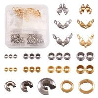 370pcsbox 304 stainless steel crimp beads end cords link accessories kits for jewelry diy making mix color