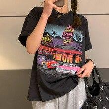 Retro Comics American Casual Style donna tshirt oversize allentato estate ragazze Tee top o-collo nuova moda coreana abiti Kawaii