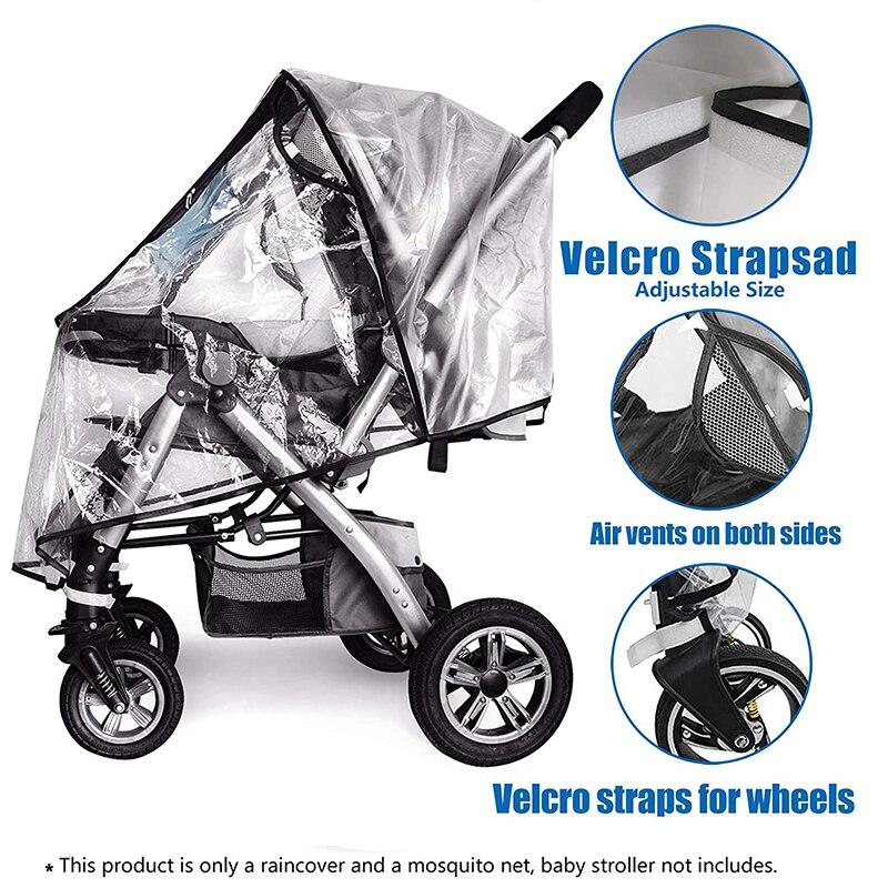 Funda impermeable para cochecito de bebé, impermeable, transparente, resistente al viento, con cremallera, accesorio para carritos de bebé