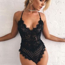 Women Sexy Solid Lace Skinny Lady Lingerie Lace Dress Bodysuits Underwear Nightwear Sleepwear Bodysu