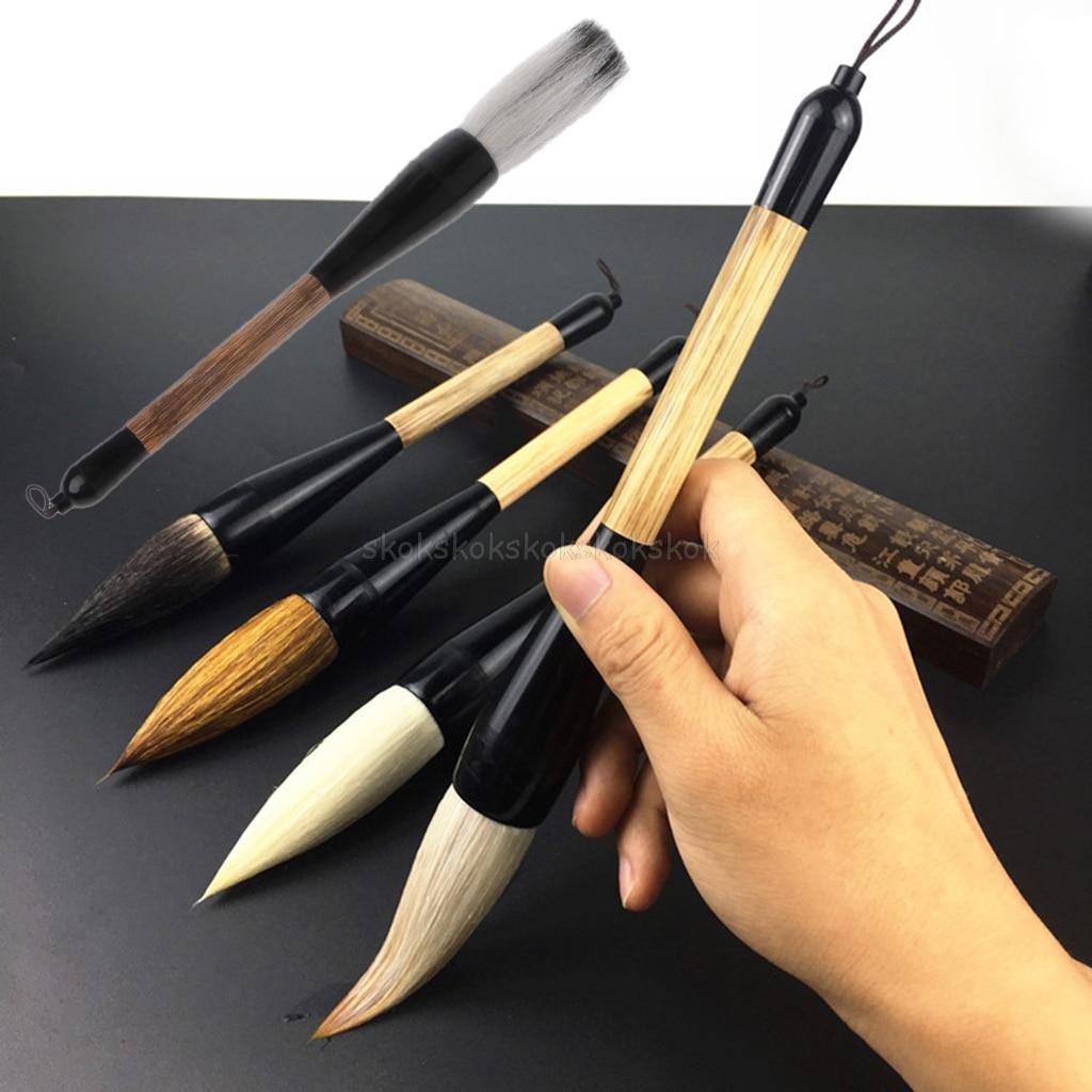 5 estilos de caligrafia chinesa caneta escova cabelo cabra bambu eixo pintura escova arte estacionária pintura a óleo escova jy23 19 dropship