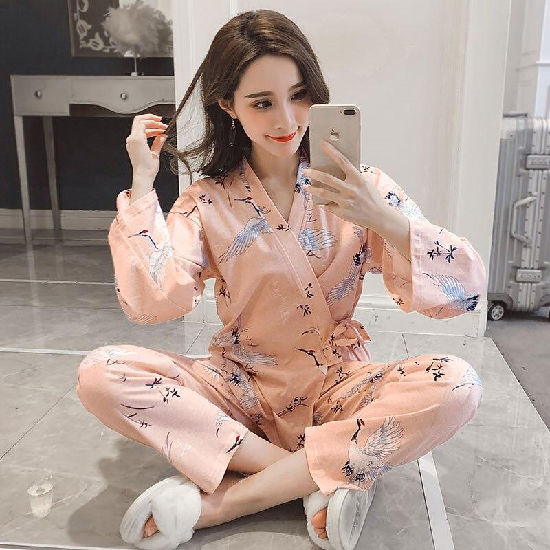 2019 primavera otoño lindo estampado de dibujos animados Kimono pijamas conjuntos para mujeres de manga larga leche seda Pijama ropa de dormir Pijama Mujer ropa de casa