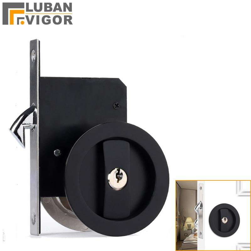 Sliding door hook lock, Black Round  handle , Hidden  hook lock,Zinc alloy,For bathroom kitchen balcony,Door hardware
