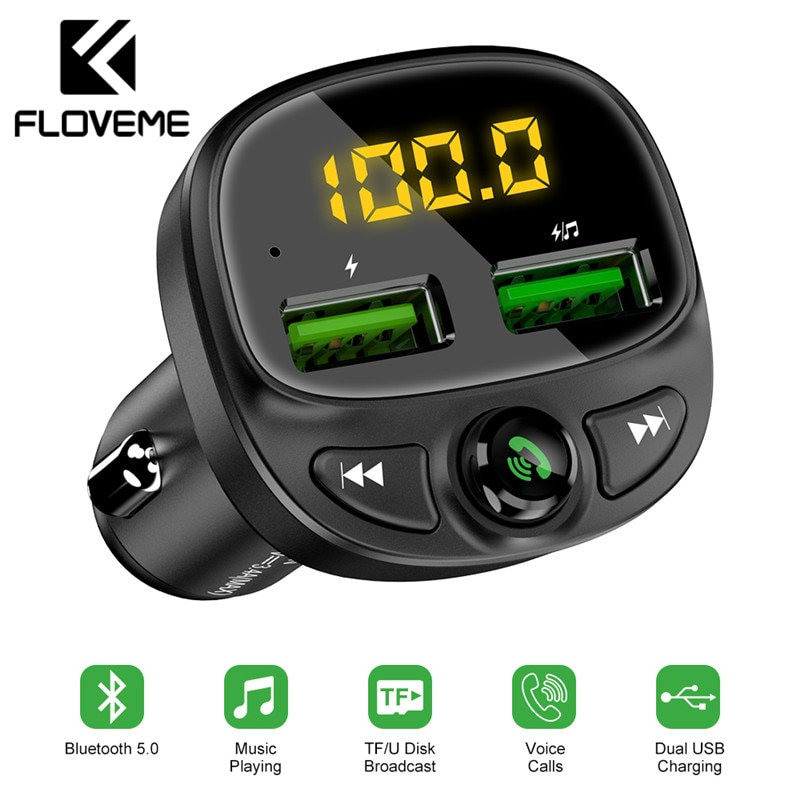 FLOVEME USB Car Charger For Phone Bluetooth Wireless FM Transmitter MP3 Player Dual USB Charger TF C