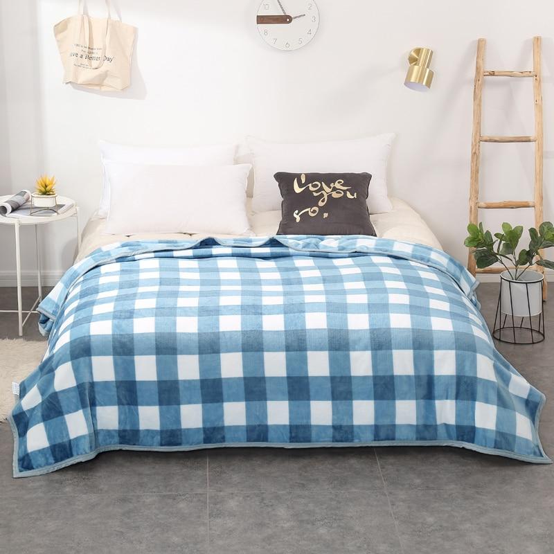 Mantas de tela escocesa edredones doble reina rey adulto mantas suave tiro mantas de franela en la cama/coche/sofá azul los niños alfombras mantas