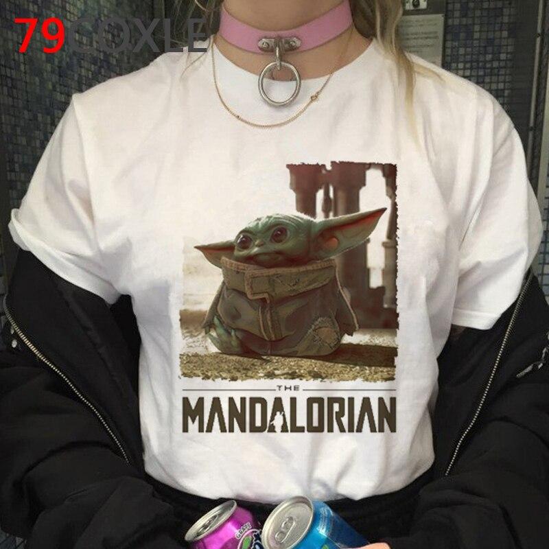 Kawaii Baby Yoda Harajuku T Shirt Women Ullzang The Mandalorian Funny Cartoon T-shirt Cool Star Wars Tshirt 90s Top Tees Female