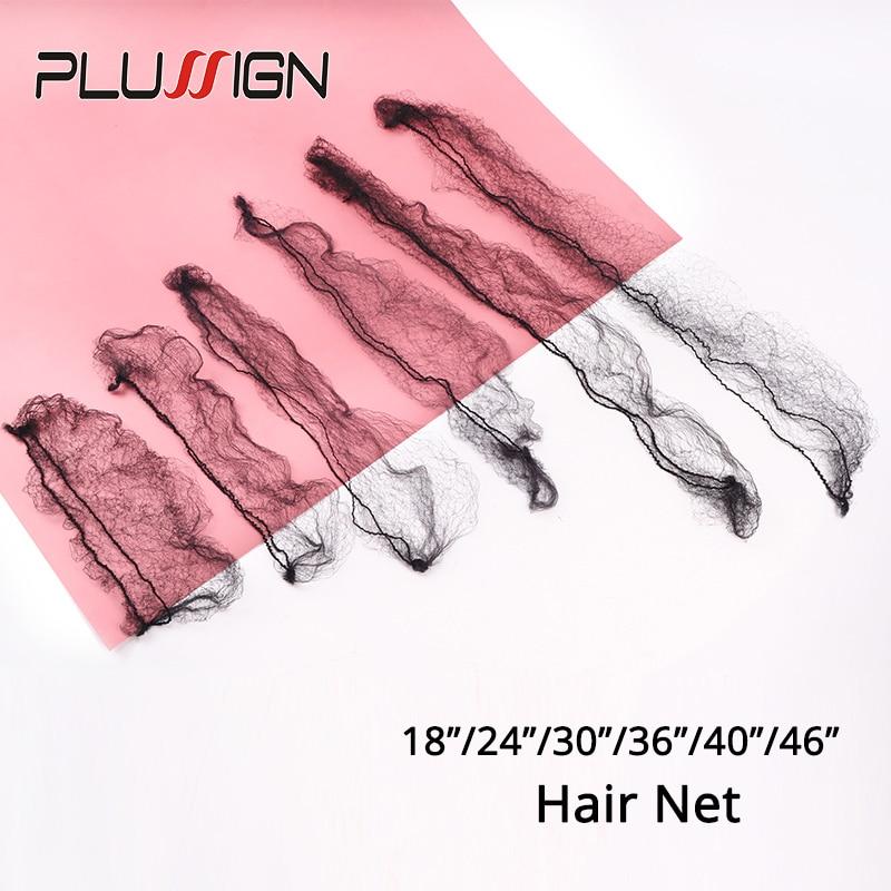 Plussign 20Pcs/Lot Invisible Hairnet For Wigs Bundles Mesh Wig Cap Long Size 24 30 36 40 46Inch Hair Nets, Black Hair Accessori