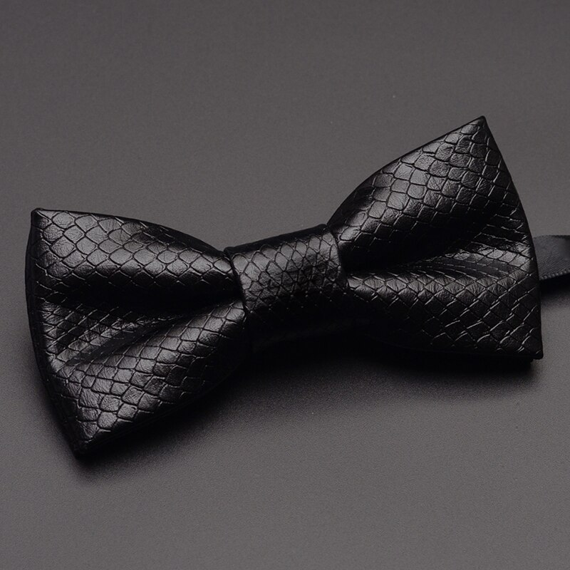 2019 New Fashion Men's Bow Ties for Wedding Double Fabric PU Leather Bowtie Club Banquet Anniversary Butterfly Tie with Gift Box