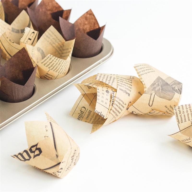 50/100 Uds envoltorios de pastel tazas de papel para hornear diseño de tulipán Cupcake envoltorios moldes Muffin cajas torta taza regalos de fiesta de cumpleaños