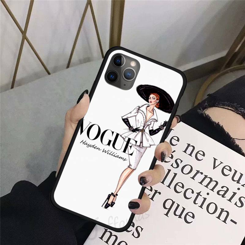 VOGUE Princess Girl Female boss coffee Phone Case For iphone 8 11 12 Redmi note 8 9 s huawei p 30 pro lite plus cover funda enlarge