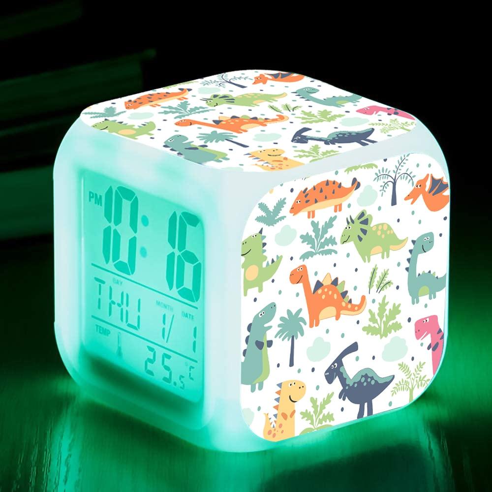 Dinosaur Alarm Clock LED Digital Clock 7 Colorful Glowing Light Night Unicornio Despertador Kids Bedside Table Clock Kids Gift