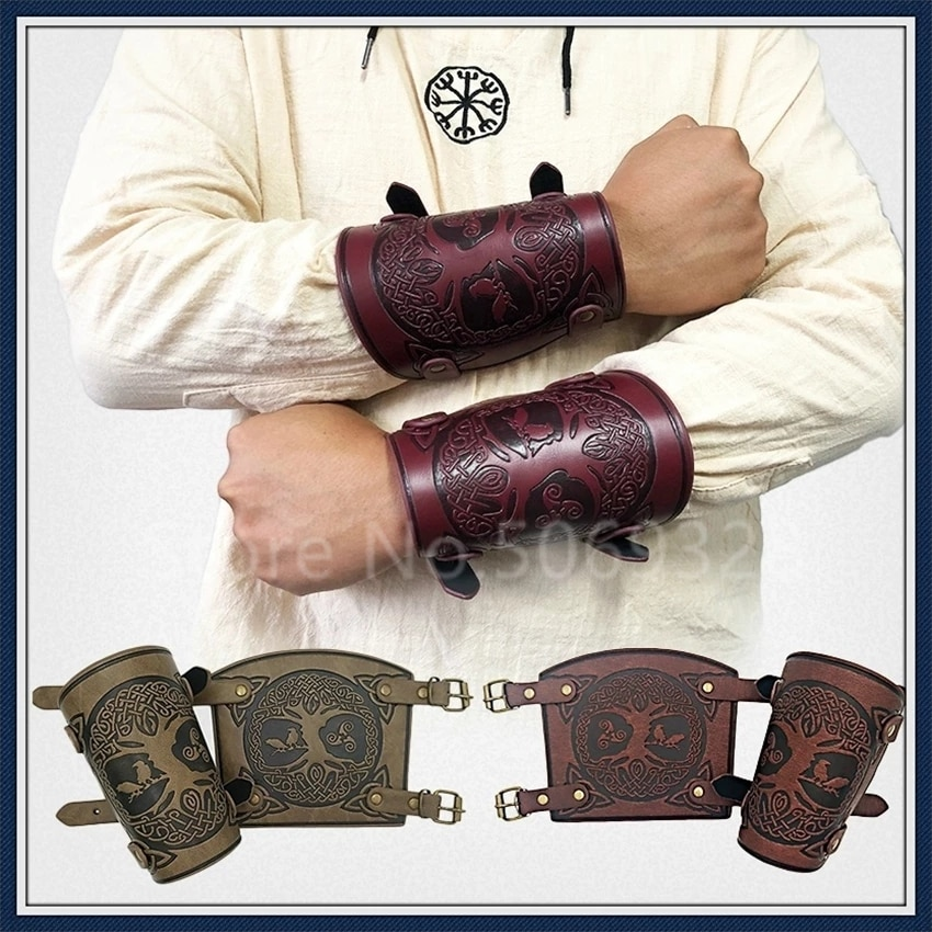 Medieval Leather Armor Men Cosplay Arm Warmers Lace-Up Viking Pirate Knight Gauntlet Wristband Bracer Steampunk Accessories 1pc