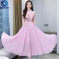 2021 new summer beach maxi dress for women fashion casual o neck short sleeve female elegant print chiffon party dress vestidos