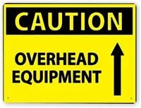 1595 warning signcaution overhead equipment1tin aluminum metal decor painting traffic warning sign 12x16 inch