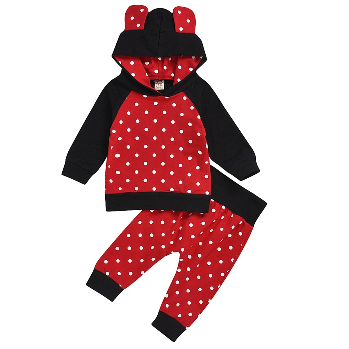 Fashion 2pcs/lot Newborn Baby Toddler Clothes Suit Polka Dotted Hoodie + Polka Dotted Pants baby clothes Casual Clothing Suit aluminum foil clothing fire fighting suit fireman outside suit high tempreture protective clothes radiation proof clothes