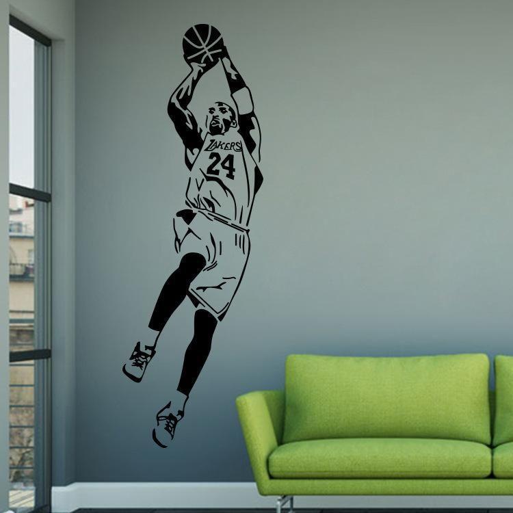 Adesivos de parede basquete, nba estrela famosa adesivos de parede, acessórios de moda para casa lq36