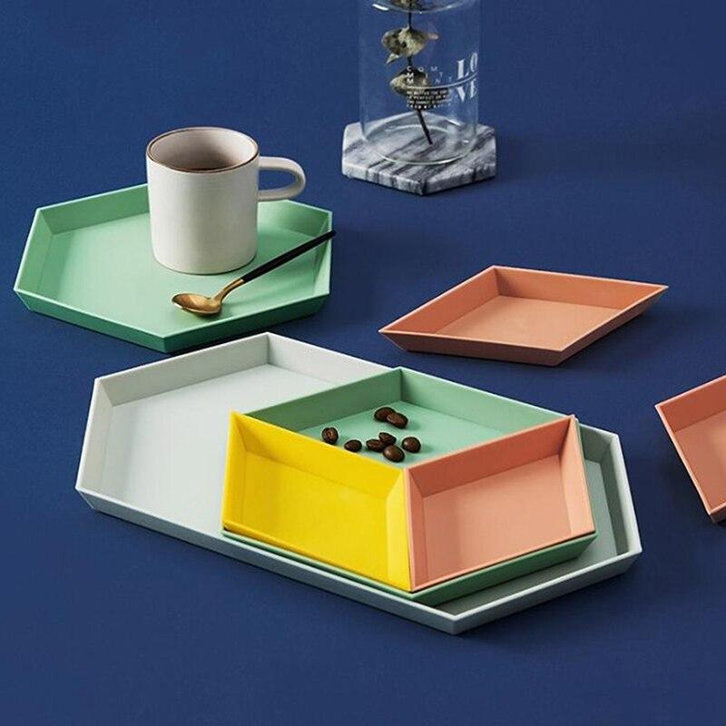 4 Uds. Caja de almacenamiento creativa Multicolor geométrica desmontable de fruta de caramelo