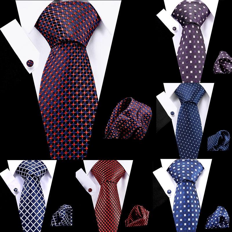 Gravatas masculinas vermelho dot stripe 7.5cm 100% seda gravata lenço abotoado conjunto flomal vestido acessórios casamento festa gravata