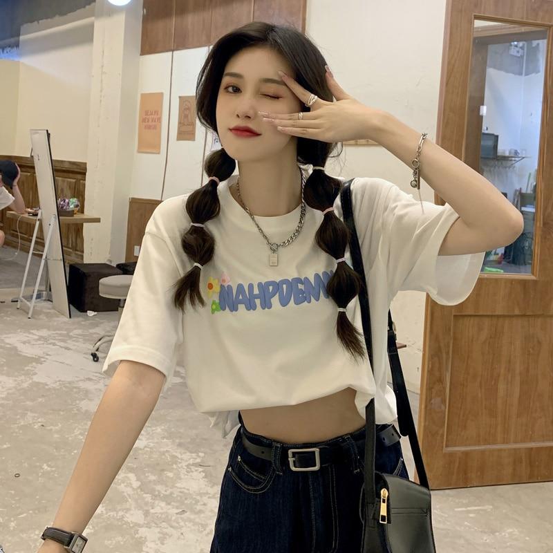 Cost-Effective Loose Short Foam Letter Printing Tshirt Harajuku Summer Top Korean Clothes Kawaii Aes
