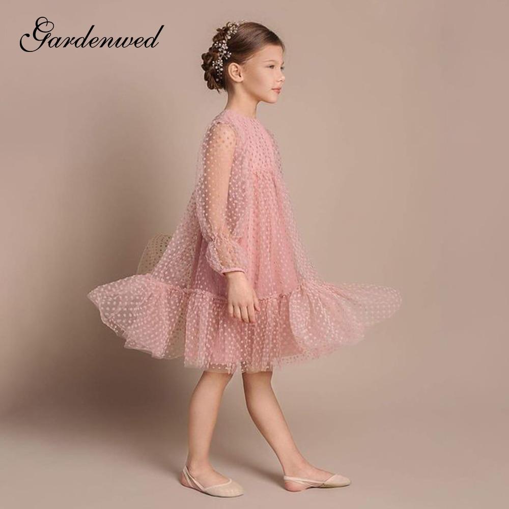 فستان زفاف من التول المنتفخ للفتيات ، فستان سهرة ، أكمام طويلة ، منفوخ ، وردي ، نمط منقطة ، تول ، ملابس المشاهير