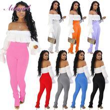 Pantalons de survêtement empilés tricotés côtelés Sexy femmes Leggings extensibles pantalons moulants taille haute élastique ourlet fendu pantalon crayon de rue