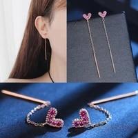 2021 fashion elegant love heart long ear line earrings 925 anti allergy silver needle earrings for woman personality jewelry