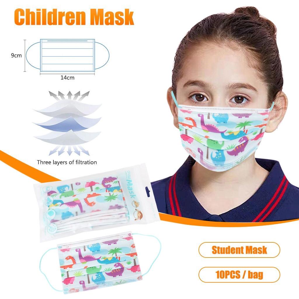 10/20/30/40 Pcs Disposable Face Maks For Kids Non-Woven Fashion Breathable Mouth Maskking Cute Cartoon Print Mascarillas Bandana