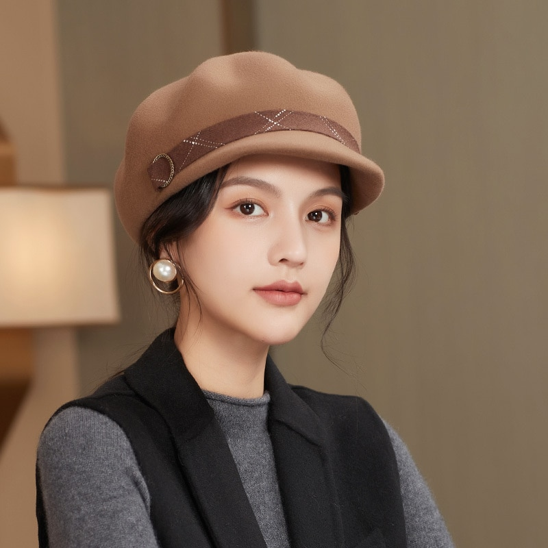 Autumn And Winter Woman Solid Color Octagonal Hat Lady Party Fashion 100%  Wool Felt Newsboy Caps