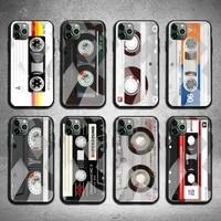 music classic retro cassette tape phone case tempered glass for iphone 12 11 pro max mini xr xs max 8 x 7 6s 6 plus se 2020