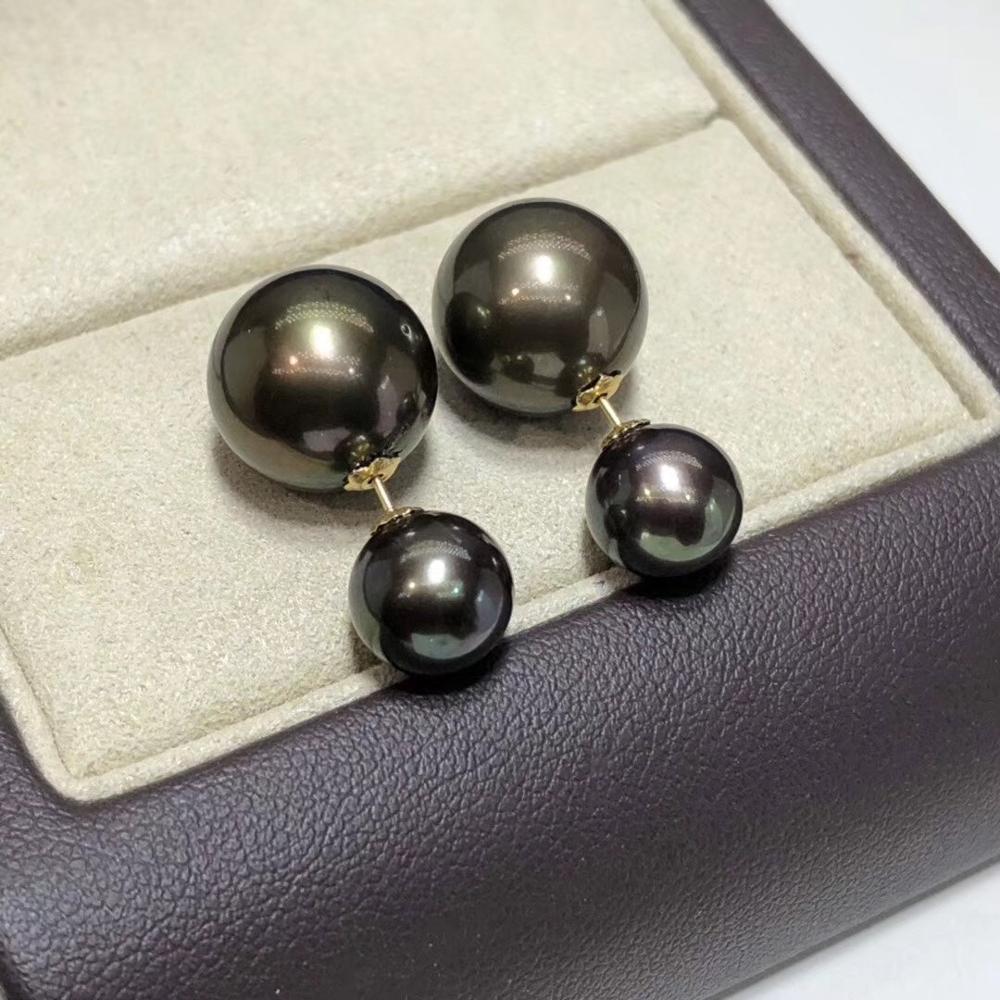 D320 Pearls Earrings Fine Jewelry Solid 18K Gold Natural Fresh Water Peacock Green Black Pearls Female's Earrings Fine Presents