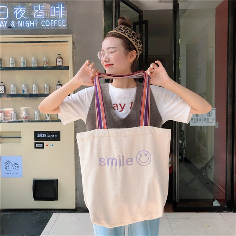 2021 New Women Canvas Bag Large Capacity Embroidered Shoulder Bags Cotton Cloth Fabric Handbags Smiley Tote Books Bag for Girls