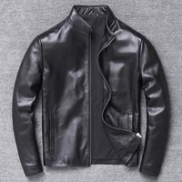 mens genuine leather jacket coat real sheepskin brand black male bomber motorcycle biker slim fit autumn spring male clothes top