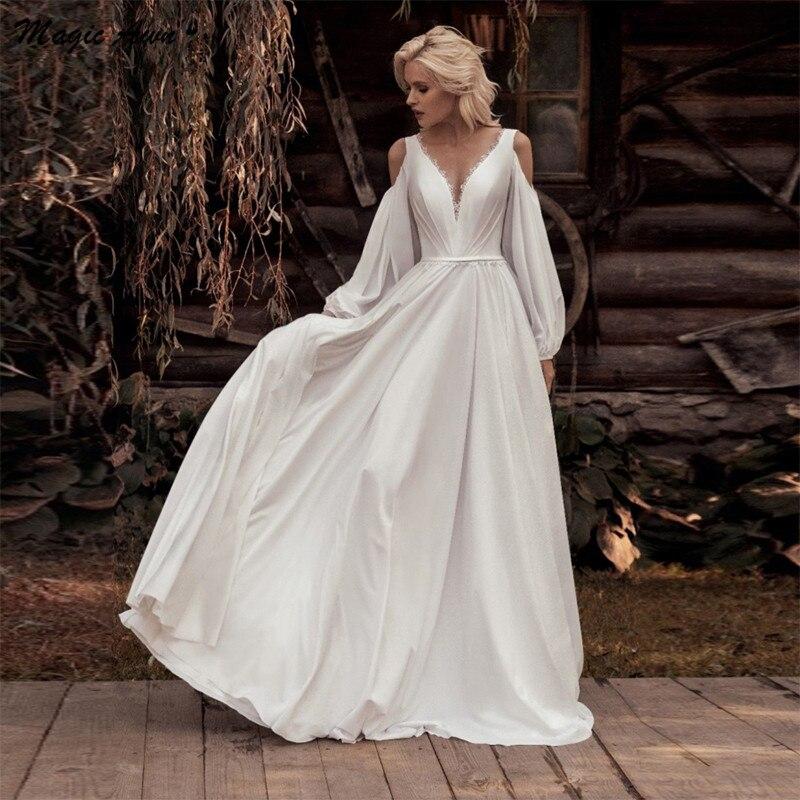 Magic Awn-vestidos de Boda de manga larga, Vestido bohemio con apliques de...